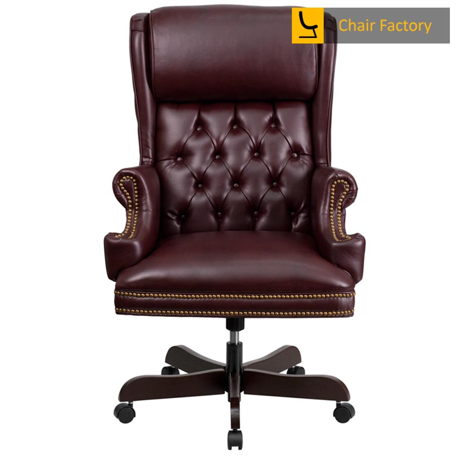 Count Burgundy High Back 100% Genuine Leather Chair