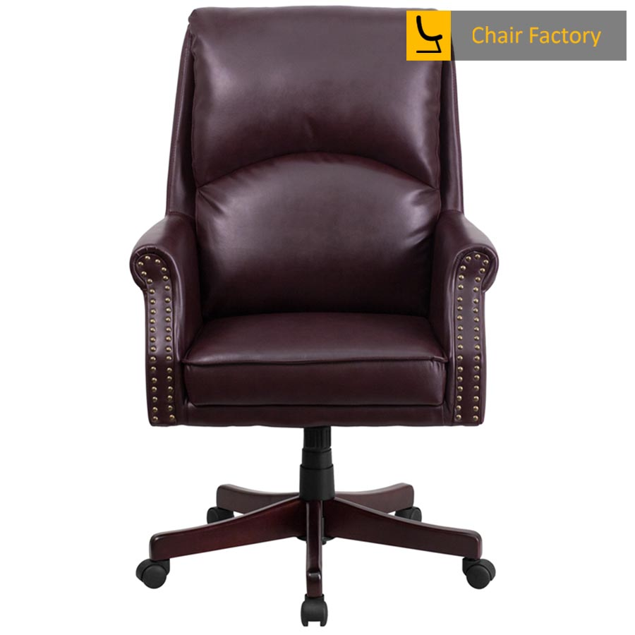 Duke Burgundy High Back 100% Genuine Leather Chair