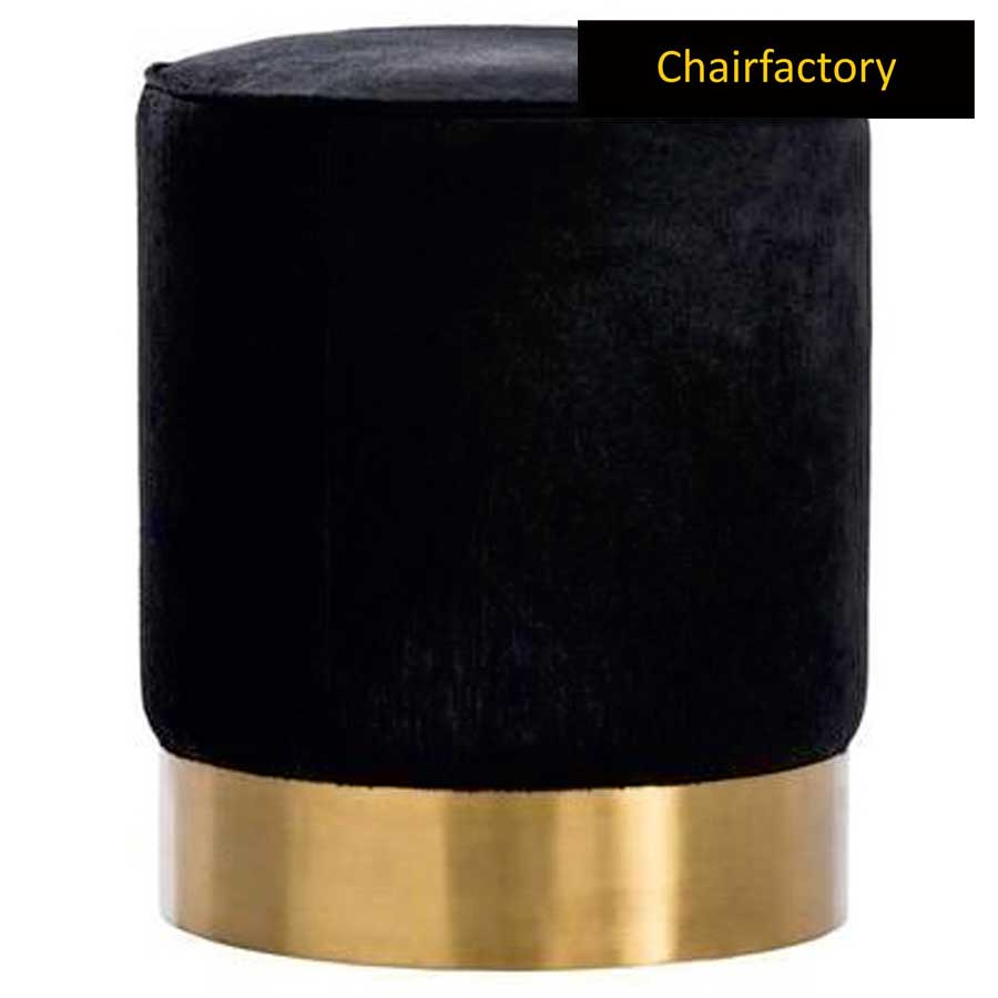 Golda Black Circular Pouffe Stool