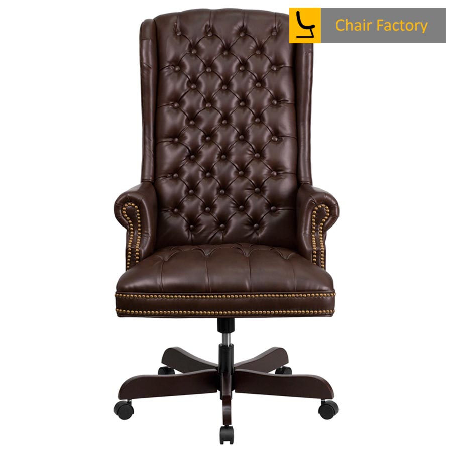 Kingdom Brown High Back 100% Genuine Leather Chair