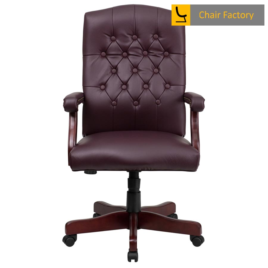 Lord Burgundy High Back 100% Genuine Leather Chair