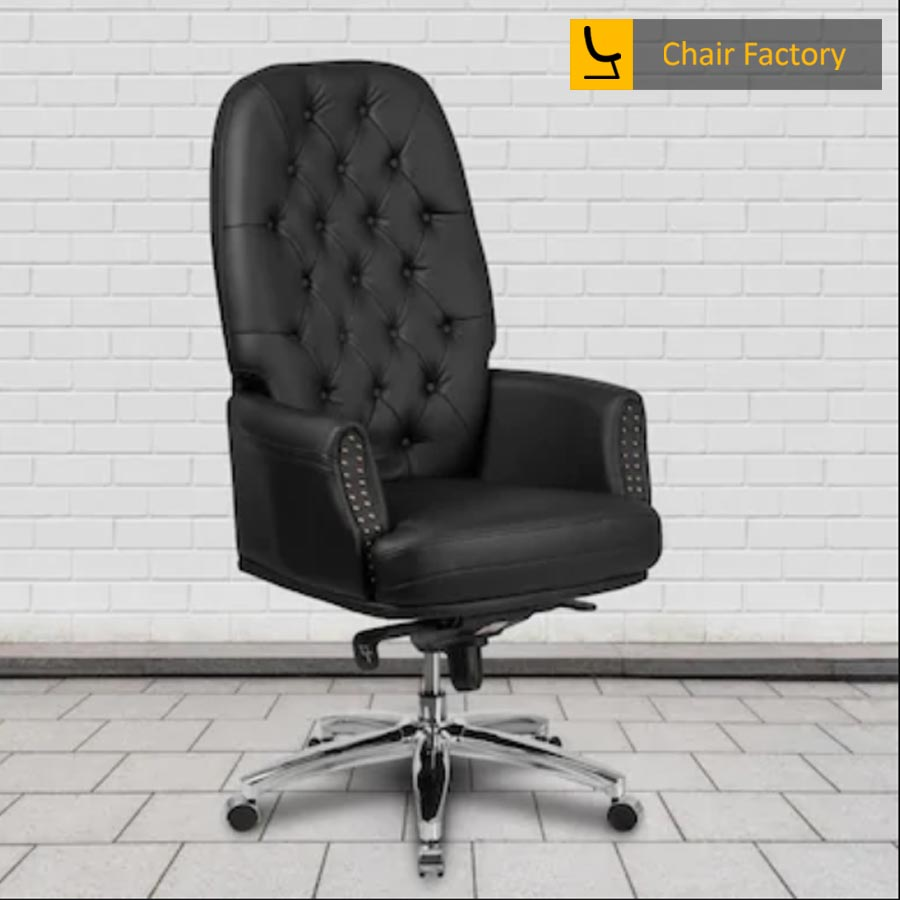 Supremos Black High Back 100% Genuine Leather Chair