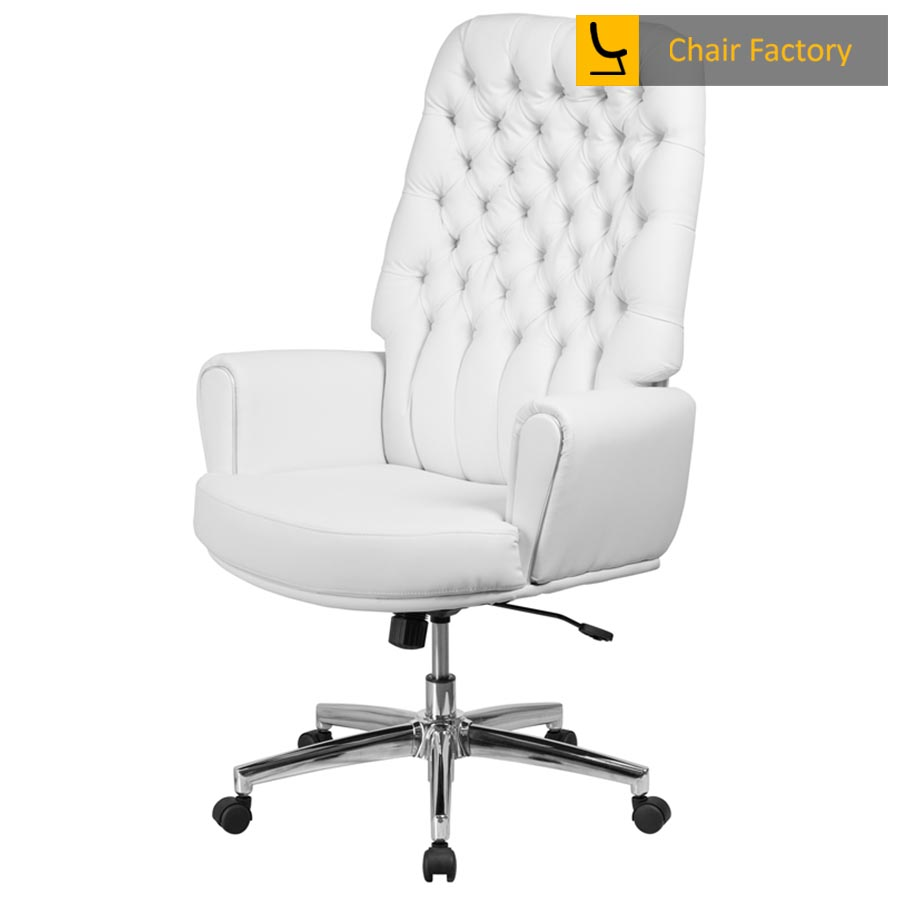 Supremos White High Back 100% Genuine Leather Chair