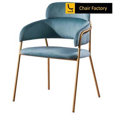 Trinitas Sky Blue Velvet & Gold Chair