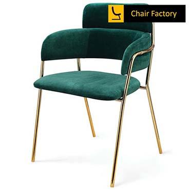 Trinitas Emerald Green Velvet & Gold Plated Chair
