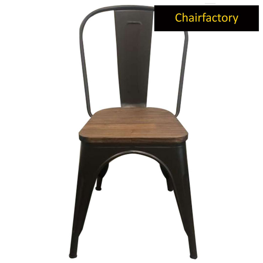 Tolix Chair Replica With Wooden Seat
