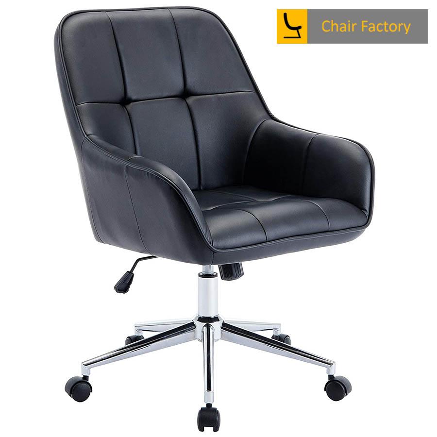 Arlo Checks Leather Black Designer Chair