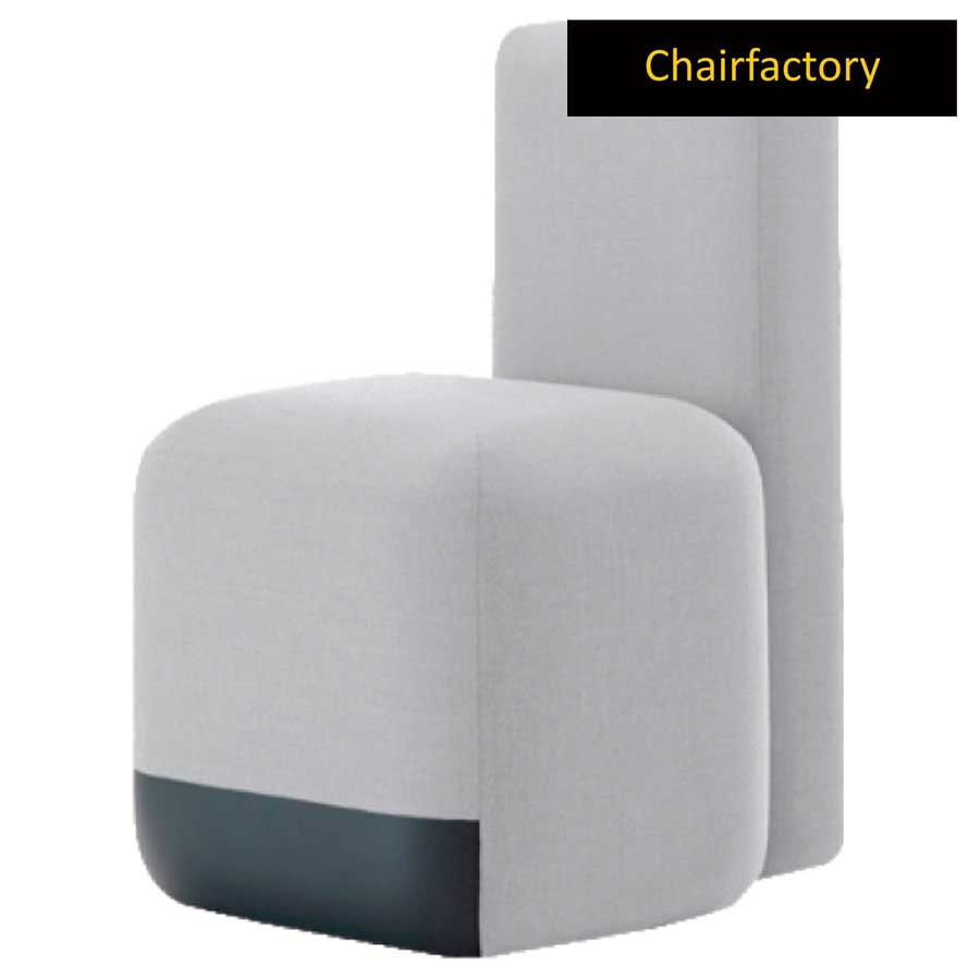 Bona White Pouffe Stool With Back Rest