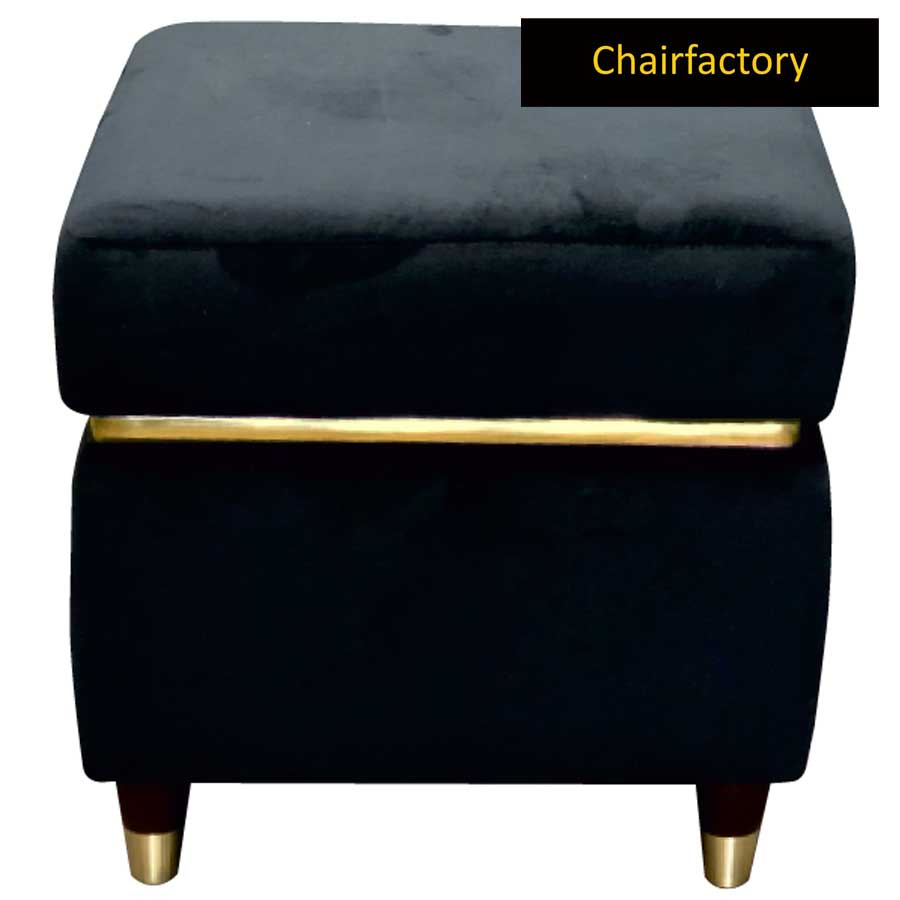 Callie Black Square Pouffe Stool