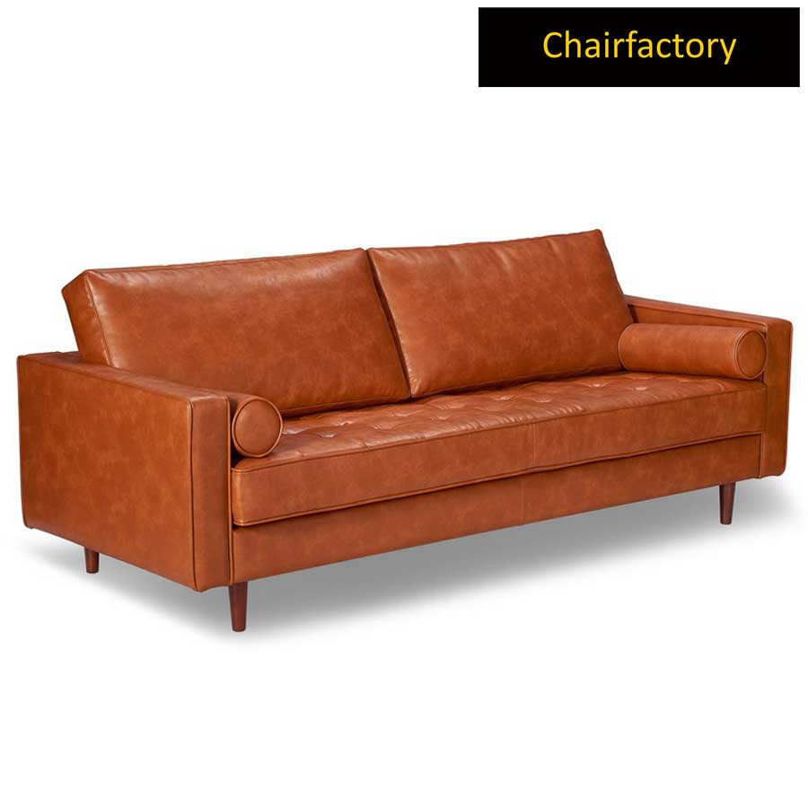 Brown Clive Leatherette 2 Seater Sofa