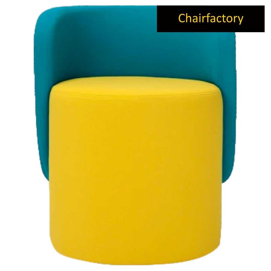 Daron Yellow Pouffe Stool With Blue Backrest