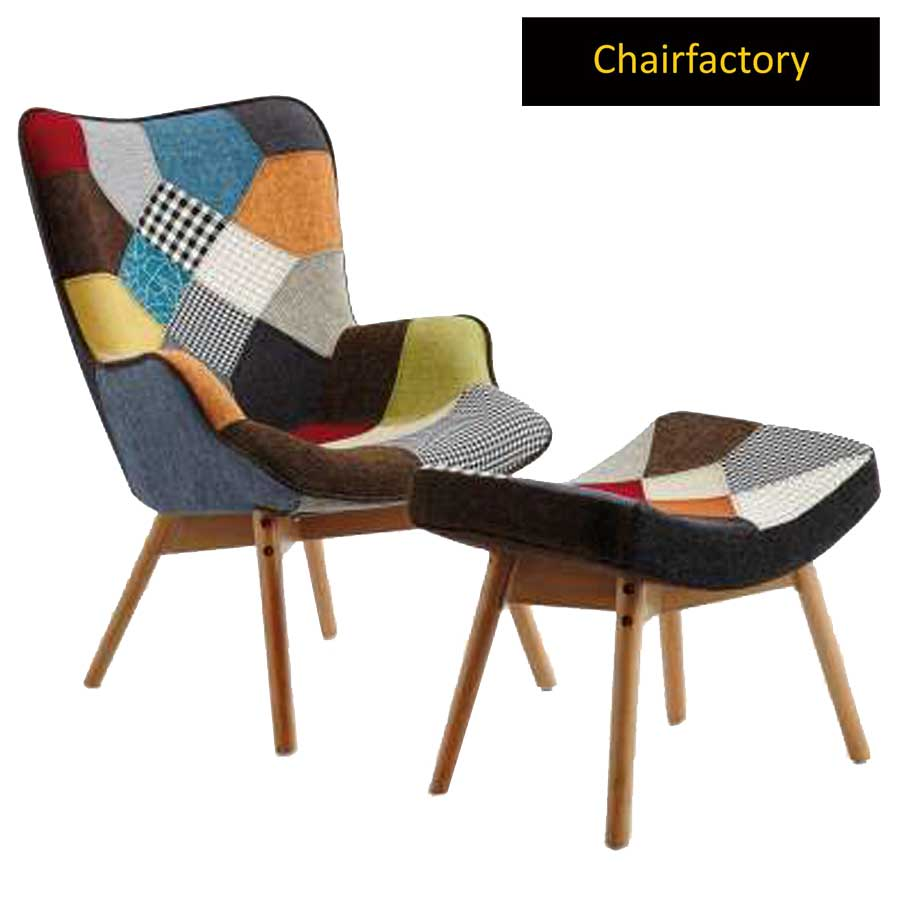 Duke Patchwork Lounge Chair With Footrest
