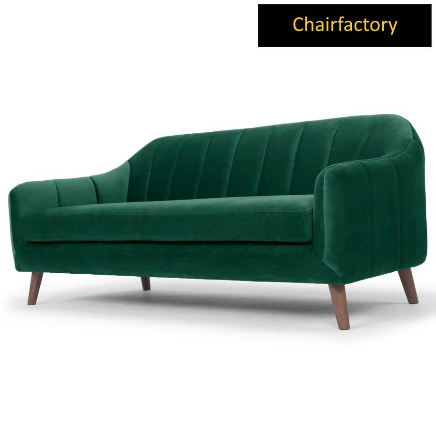 Filbert Green Velvet 3 Seater Sofa