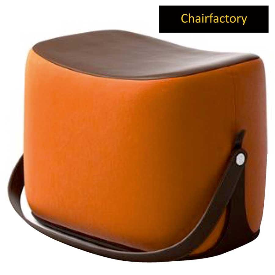 Haines Orange Pouffe Stool