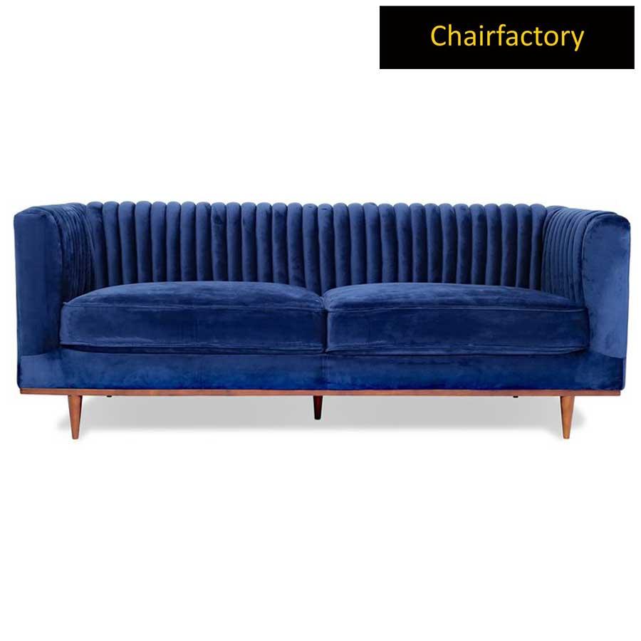 Karlstad Blue Velvet 3 Seater Sofa