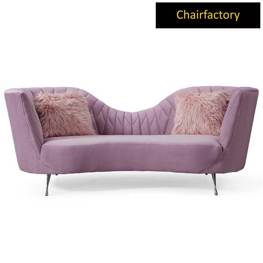 Mossbo Pink Velvet 3 Seater Sofa