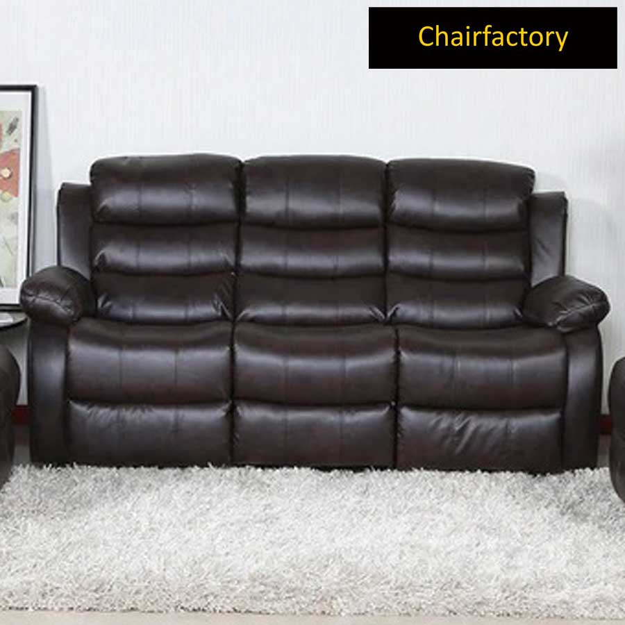 Rosson Brown Three Seater Recliner Sofa