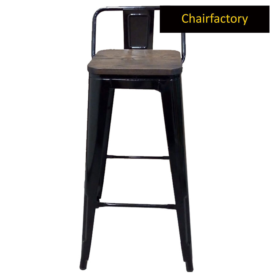Tolix High Counter Bar Stool Small With Wooden Seat