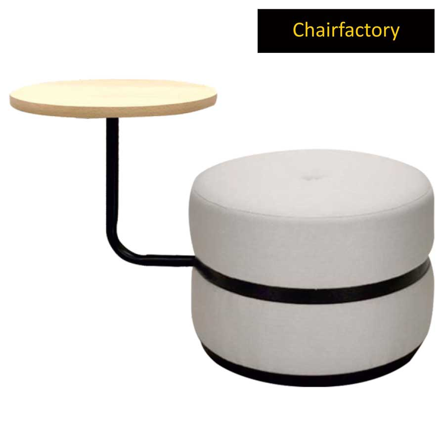 Zetta White Pouffe Stool With Table